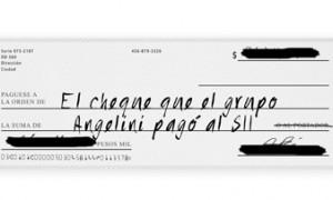 El cheque que el grupo Angelini pagó al SII