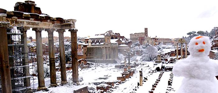 Roma bajo la nieve